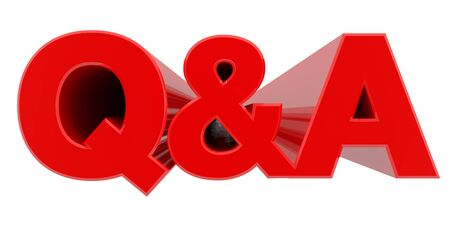 Q&A word on white background 3d rendering