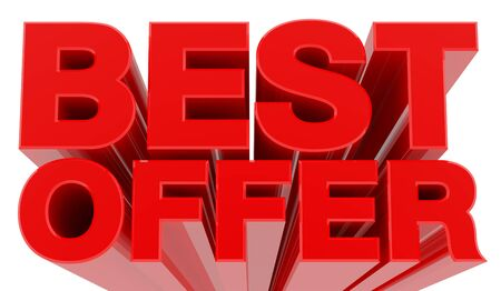 BEST OFFER word on white background 3d rendering
