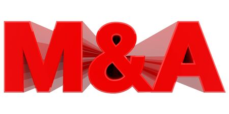 M&A word on white background 3d rendering