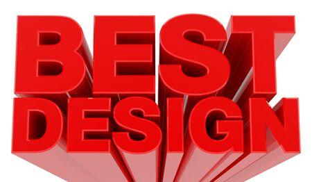 BEST DESIGN word on white background 3d rendering Imagens