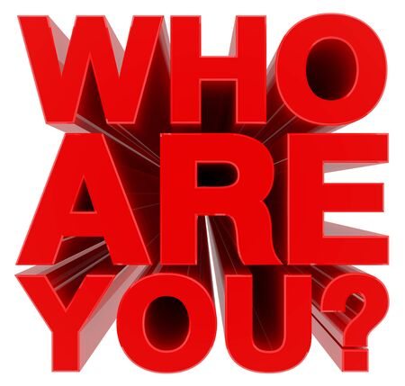WHO ARE YOU ? red word on white background 3d rendering Фото со стока