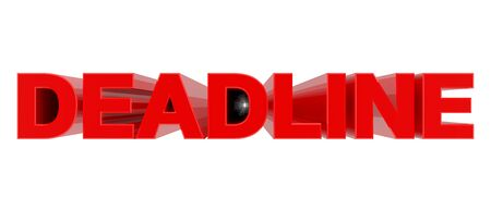 DEADLINE word on white background 3d rendering Фото со стока
