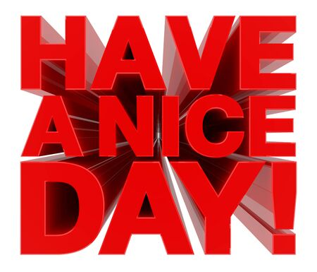 HAVE A NICE DAY ! word on white background 3d rendering