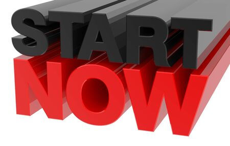 START NOW word on white background 3d rendering
