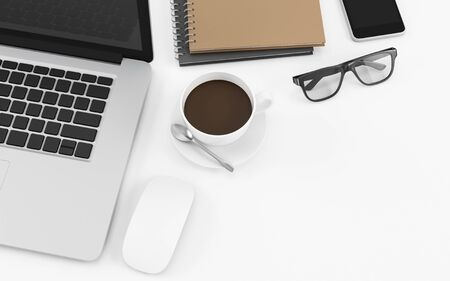 White office desk table with computer notebook, coffee cup, glasses and phone, copy space design illustration 3D rendering