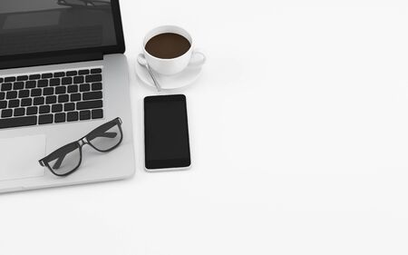 White office desk table with computer notebook, glasses, phone and coffee cup, copy space design illustration 3D rendering