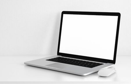 Computer laptop blank screen on white office desk, workspace mock up design illustration 3D rendering Stock Photo