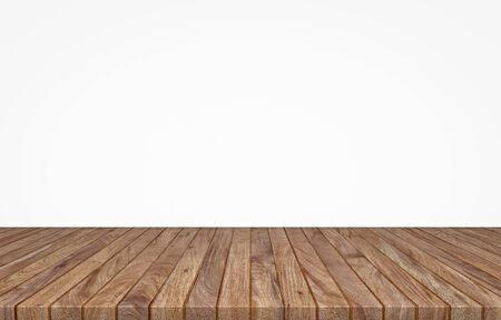Empty top wooden table on white background, Empty ready for your product display or montage, 3D rendering