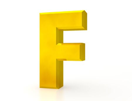 the Gold letter F on white background 3d rendering
