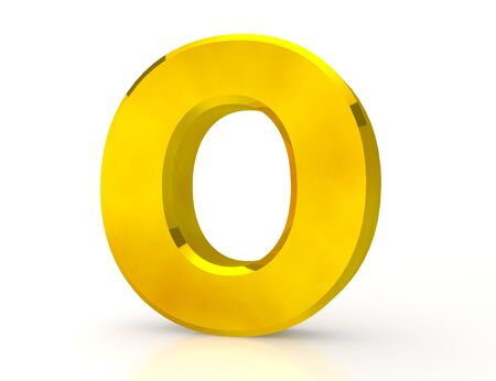 the Gold letter O on white background 3d rendering