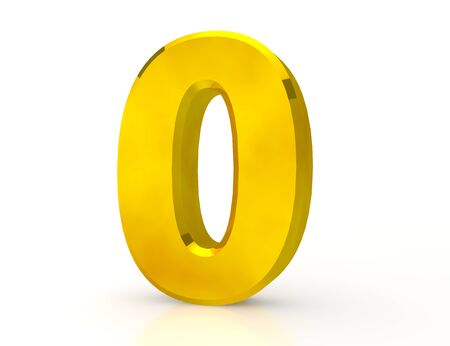3d Gold number 0 on white background