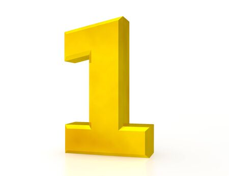 3d Gold number 1 on white background Stock Photo