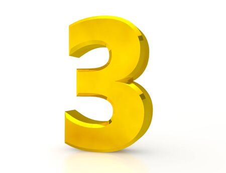 3d Gold number 3 on white background