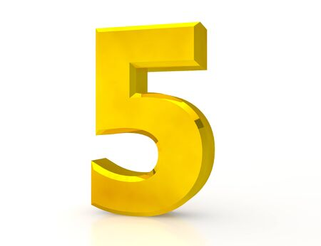 3d Gold number 5 on white background Stock Photo