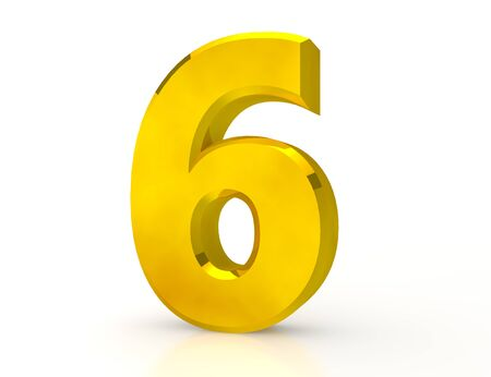 3d Gold number 6 on white background