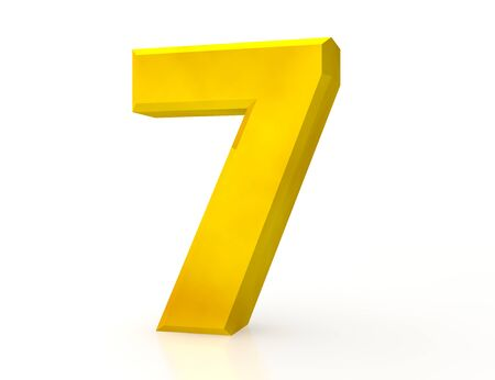 3d Gold number 7 on white background