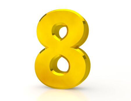 3d Gold number 8 on white background Stock Photo