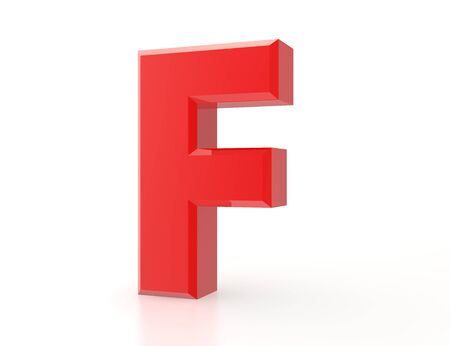 the red letter F on white background 3d rendering