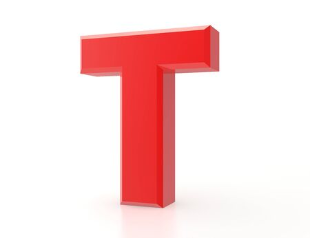 the red letter T on white background 3d rendering Stock fotó