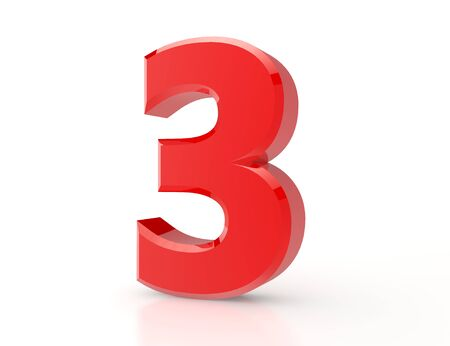 3d red number 3 on white background