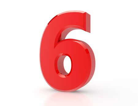 3d red number 6 on white background