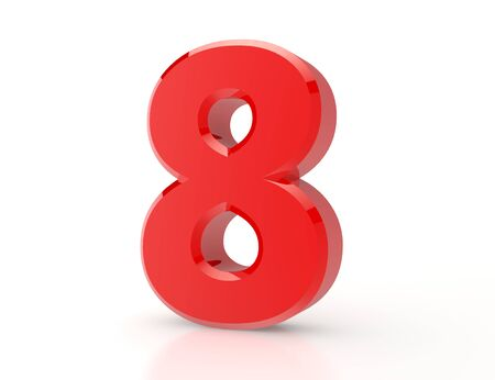 3d red number 8 on white background
