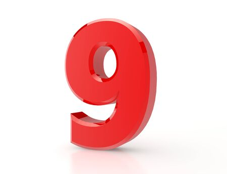 3d red number 9 on white background Stock Photo