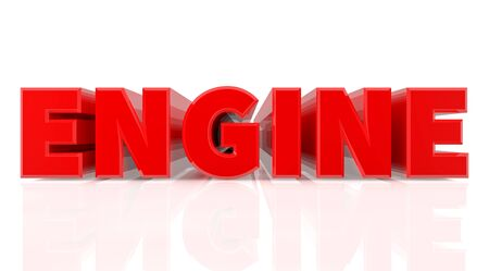 3D ENGINE word on white background 3d rendering