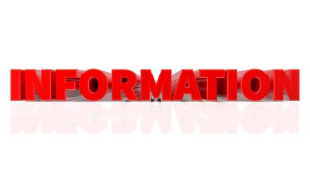 3D INFORMATION word on white background 3d rendering