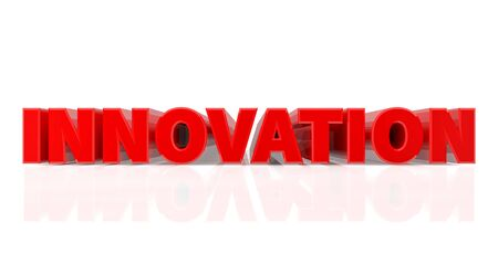 3D INNOVATION word on white background 3d rendering
