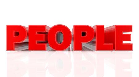 3D PEOPLE word on white background 3d rendering Zdjęcie Seryjne