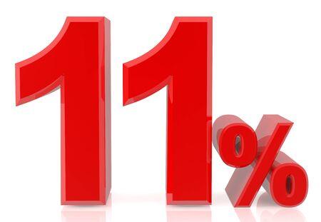 eleven percent red 3d rendering