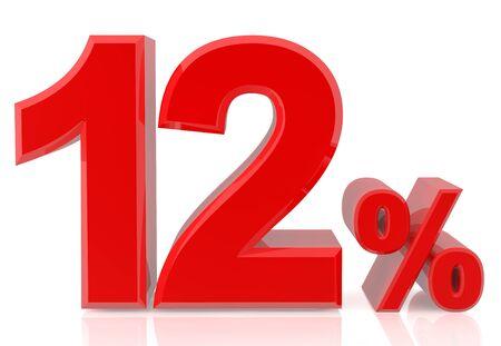 zwölf Prozent rote 3D-Rendering