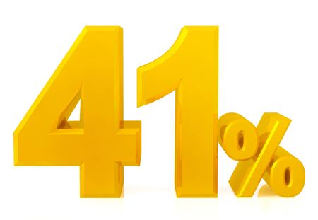 Fourty one percent gold 3d rendering
