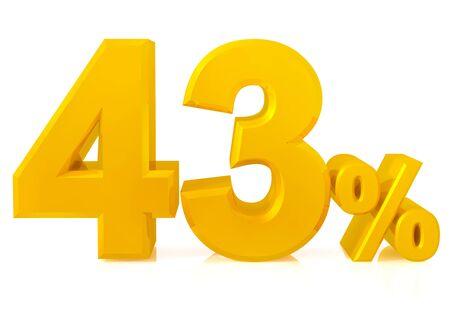 Fourty three percent gold 3d rendering Stok Fotoğraf