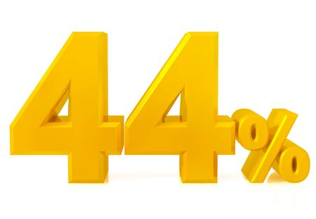 Fourty four percent gold 3d rendering 스톡 콘텐츠 - 131433651
