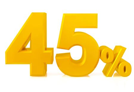 Fourty five percent gold 3d rendering 스톡 콘텐츠 - 131434387