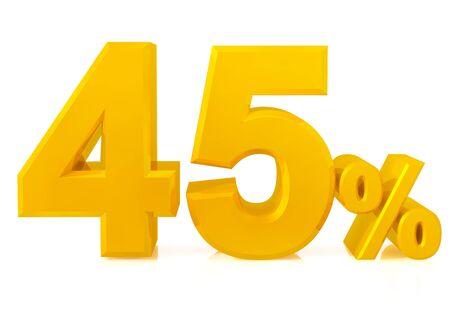 Fourty five percent gold 3d rendering Stok Fotoğraf