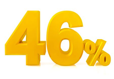 Fourty six percent gold 3d rendering