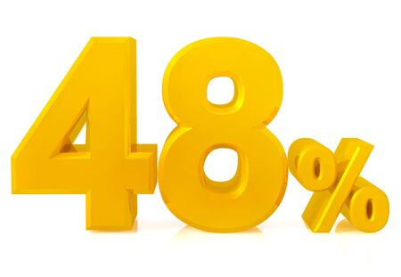 Fourty eight percent gold 3d rendering