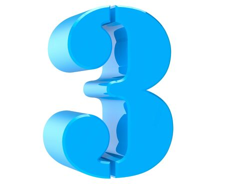 3d blue number 3 on white background 3d rendering