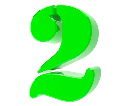 3d green number 2 on white background 3d rendering