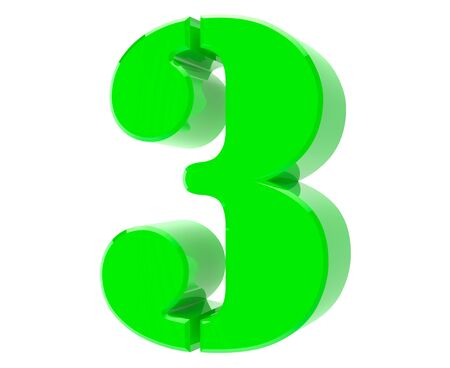 3d green number 3 on white background 3d rendering Stock Photo