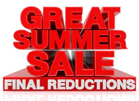 GREAT SUMMER SALE FINAL REDUCTIONS word on white background 3d rendering Stok Fotoğraf