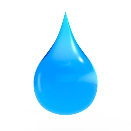 Blue shiny water drop 3D rendering