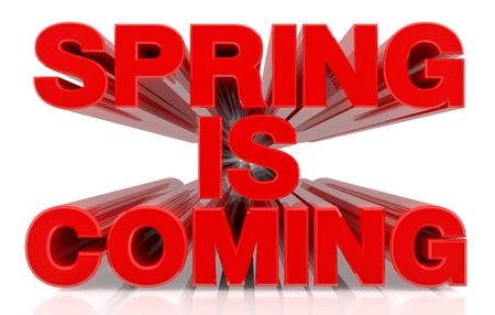 SPRING IS COMING word on white background 3d rendering
