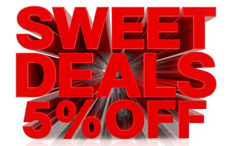 sweet deals 5 % off on white background 3d rendering