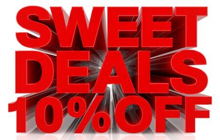 sweet deals 10 % off on white background 3d rendering Stock fotó