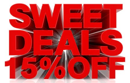sweet deals 15 % off on white background 3d rendering