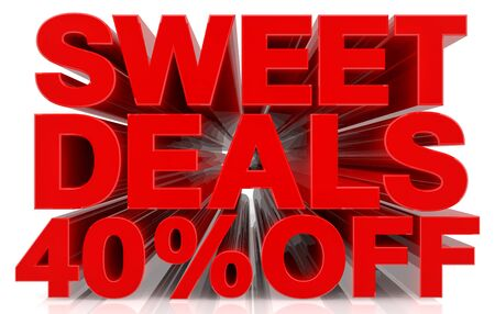 sweet deals 40 % off on white background 3d rendering